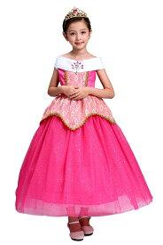 オーロラ姫 ドレス ロング ピンク 女の子 子供 衣装 コスプレ 5層構造 キラキラ光る ドットラメ 大きな後ろリボン コスチューム 仮装 お姫様 なりきり ワンピース TDL プレゼント ギフト イベント パーティー 誕生日