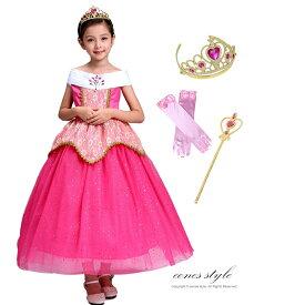 オーロラ姫 ドレス ロング ピンク 女の子 子供 衣装 ドットラメ 大きな後ろリボン コスプレ コスチューム 仮装 お姫様 なりきり TDL プレゼント ギフト イベント パーティー 誕生日 ドレス、ティアラ、スティック、グローブ 豪華4点セット