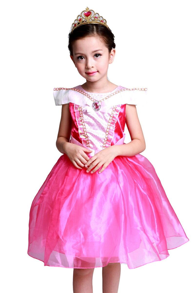 オーロラ姫 モチーフ ミニドレス スカート3層構造 ふんわり 子供用 プリンセス ドレス ティアラ セット