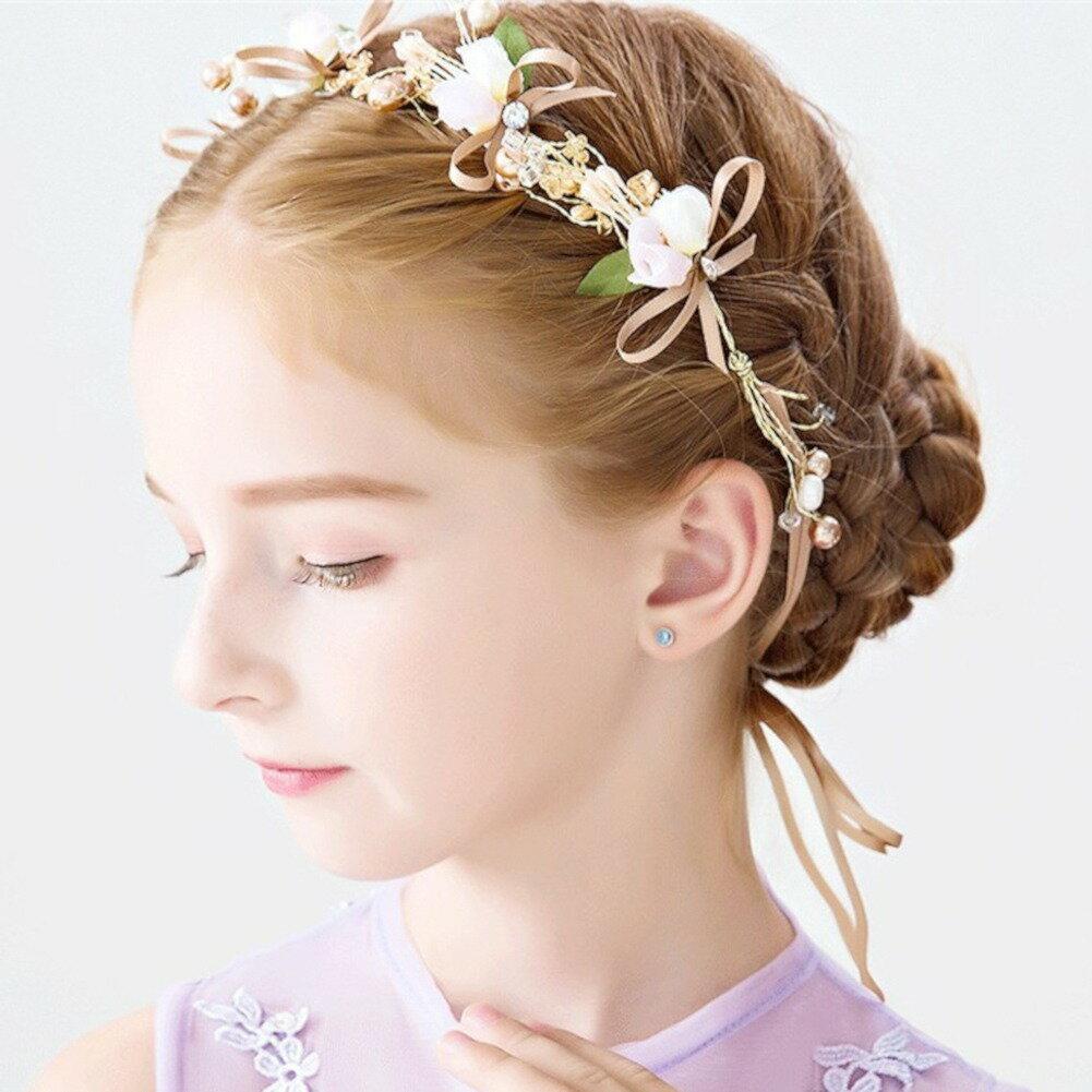 ヘアアクセサリー ヘッドドレス 子供 花冠 ヘッドアクセサリー カチューシャ フラワーカチューシャ フラワーモチーフ 髪飾り 子供髪飾り ビジュー  パール リボン 立体