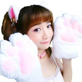 ハロウィン コスプレ 猫 肉球 手袋 コスチューム リアルな立体 猫耳 カチューシャ ねこの手 猫グローブ 猫手袋 しっぽ 肉球 手袋 首輪 蝶ネクタイ 4点セット