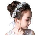 ヘッドドレス 髪飾り 子供 女の子 キッズ ヘアアクセサリー ピンク フラワー ヘアバンド 花刺繍 7連 リボン シンプル …