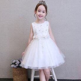 55223a95d8d89 ドレス 女の子 フォーマルドレス 子供服 白ドレス 花刺繍 花柄 ホワイトドレス フォーマル ワンピース
