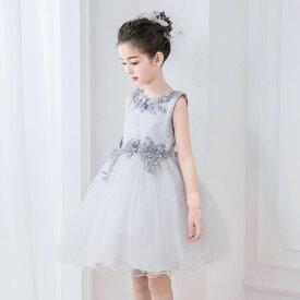 52fc2a8a10ac4 ドレス 女の子 フォーマルドレス ノースリーブドレス 子供服 ワンピース シルバー ミニドレス シルバードレス 花刺繍