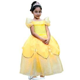 ベル ドレス 子供 キッズ 女の子 イエロー 衣装 パーティー 発表会 TDL プレゼント ギフト オフショルダー オーバースカート チュール リボン ロングドレス フォーマル クラシカル ピアノ 舞台 結婚式 4点セット DR05