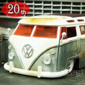"""ミニカー 旧車 模型 1/24スケール 1962 フォルクスワーゲン バス(ダメージ仕様)""""For sale""""JADATOYS 20th Anniversary 20周年記念シリーズ ダイキャスト(62 VOLKSWAGEN BUS)"""