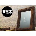 古材 木製フレームミラー 壁掛け鏡 縦40cm 横33cm チーク材 おしゃれ ウォールミラー 無垢材 アンティーク アジアン家…