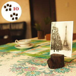 カード立て 10個セット おしゃれ カードスタンド 木製 チーク 無垢材 カードホルダー メモクリップ 名刺スタンド