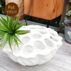 ポット 鉢 植木鉢 プランター おしゃれ 陶器 ホワイト ロータスボウル13 アッシュグレイ フラワーベース ガーデニング 園芸