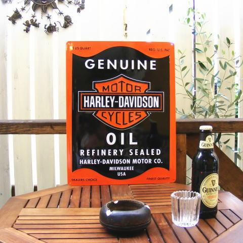 ブリキ看板 サインプレート アンティーク 壁掛け 壁飾り ハーレーダビッドソン オイル缶 (男前 インテリア おしゃれ 雑貨 ティンサイン) HARLEY