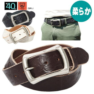 Belts men's leather belt Japan leather Tochigi leather 40 mm width 4 mm thick barrel-type buckle / carving effect (embossing) / vintage color (4-color) buckle interchangeable buckle no antique feeling distressed wash cowhide buckle after processing with
