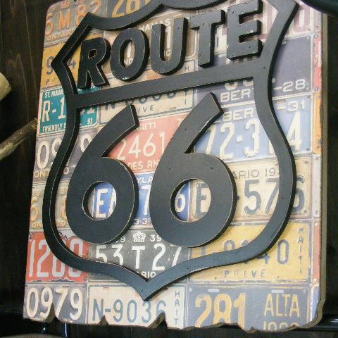 木製看板 オールドアメリカ サインプレート アンティーク 壁掛け 壁飾り ルート66サイン (アメリカン ガレージ)