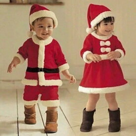 在庫処分 サンタ ベビー コスプレ 女の子 男の子用 サンタ コスチューム サンタベビー キッズ クリスマス ワンピース 上下セット