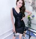 キャバドレス ボディコンミニワンピース 光沢素材 カシュクール Vバック シャーリング ノースリーブセクシー ドレス …