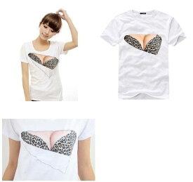 おもしろ Tシャツ おっぱいTシャツ 3D セクシー プリント (豹柄)S/M/L/XL送料無料