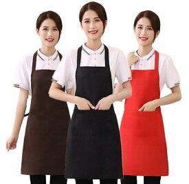 シンプルエプロン カフェ エプロン 首かけタイプ 首掛け 男女兼用 全7色 ブラック レッド ブラウン 無地でもきちんとおしゃれ サロン おしゃれ かわいい 黒 カフェエプロン 仕事用 シンプル メンズ レディース