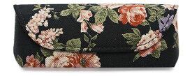 黒×花柄 鼻当付き メガネケース (セミハード・マグネット式) (パール HFU-72)