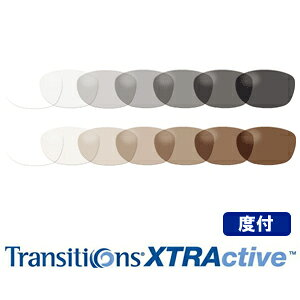 調光レンズ Transitions XTRActive(トランジションズ エクストラアクティブ) 【度付】 プラスチック ハードマルチ(反射防止コート)+SHC(超撥水コート) 標準装備 2枚1組【送料無料】 【メガ