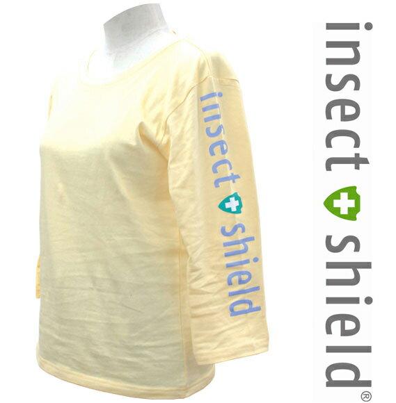 insect shield【インセクトシールド】虫よけ9分丈Tシャツ パステルイエロー【DM便かレターパックでお届け】【代引・日時指定不可】