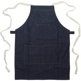 メール便可能 デニム エプロン ポケット3つ 胸付き タスキ式 分厚い 13.5オンス生地
