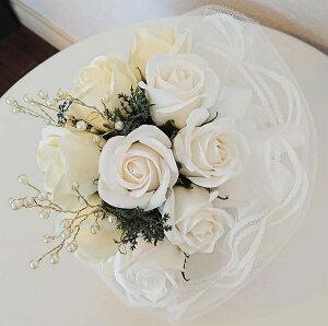 ソープフラワーブーケ バラ ホワイト 紙婚式 革婚式 花婚式 銅婚式 陶器婚式 アルミ婚式 絹婚式 レース婚式 象牙婚式 水晶婚式 磁器婚式 銀婚式 真珠婚式 珊瑚婚式 ルビー婚式 サファイア