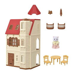 【送料無料】シルバニアファミリーハ-49赤い屋根のエレベーターのあるお家おもちゃこども子供女の子人形遊びハウス3歳