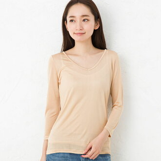 Prevention of silk 100% V neck seven minutes sleeve inner Lady's transparency skin series pink beige M/L
