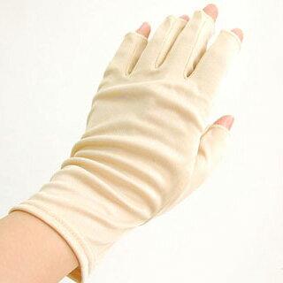 シルク 指開き手袋 レディース シルク100%ハンドウォーマー ベージュ ブラック黒