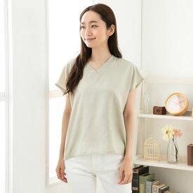 シルク100% トップス 日本製 フレンチ袖 レディース ベージュ グレー M-L