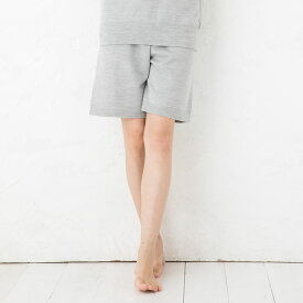 シルク100% ふわふわ加工 スウェットハーフパンツ 日本製 男女兼用 メンズ レディース 縫い目のないホールガーメント グレー S/M