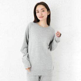 シルク100% ふわふわ加工 スウェットプルオーバー 日本製 男女兼用 メンズ レディース 縫い目のないホールガーメント グレー S/M