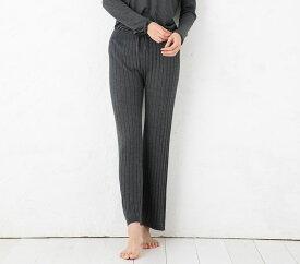 シルク カシミヤ ロングパンツ リブ編み 日本製 レディース 縫い目のないホールガーメント ベージュ グレー M-L