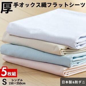 【5枚組 1枚あたり2,027円】フラットシーツ シングル 厚手オックス織 綿100%