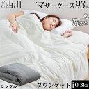 西川 ダウンケット マザーグース 羽毛 洗える 肌掛け布団 シングル マザーホワイトグースダウン93% 0.3kg入り 420dp …