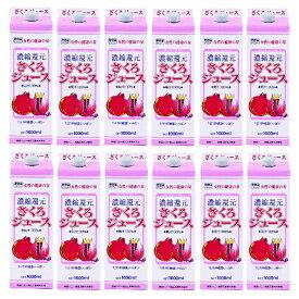 ざくろジュース100% 紙パック 1000ml 12本セット ざくろジュース(濃縮還元)野田ハニー