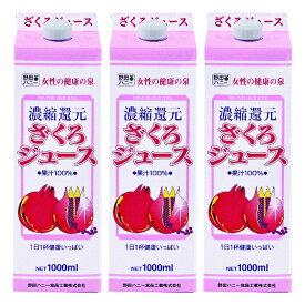 ざくろジュース100% 紙パック 1000ml 3本セット ざくろジュース(濃縮還元)野田ハニー