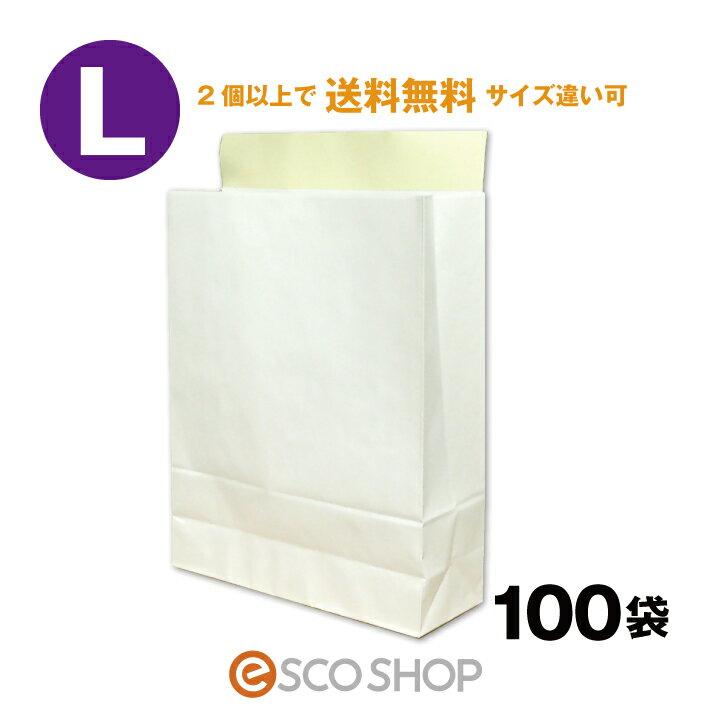 宅配袋 梱包袋 大 Lサイズ 100枚 テープ付き 白色 無地 日本製 梱包資材 紙袋 宅急便 大手運送業者と同サイズ (縦405*横320*マチ110mm)bagL フリマ オークション【2個で送料無料】【同梱不可】