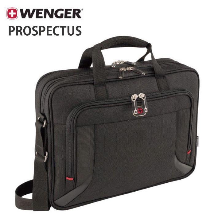WENGER PROSPECTUS (ウェンガー プロスペクタス) ブラック 約15L 600649【SWISSWIN/スイスウィン/16インチ ラップトップブリーフケース タブレットポケット/メンズ】