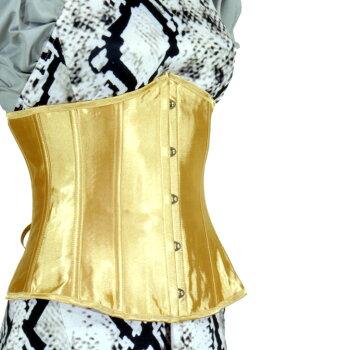 【お買い得】[LB4050]アンダーバストコルセット・シンチャー【まぶしいゴールド】14ボーン5段バスク9段編み上げポインテッドトップラウンドボトムサテン地コルセット初心者に!ウエストくびれ肋骨引き締めすぐ痩せる