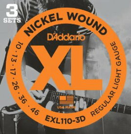 【即納可能】D'Addario EXL110-3D (3Set Pack)/ XL Nickel Round Wound【特別セール価格!!】