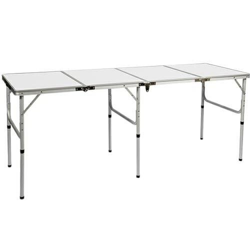 アウトドア 折りたたみテーブル 180×60cm 四つ折り ロングテーブル ホワイト AL4FT-180