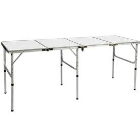クイックキャンプ QUICKCAMP アウトドア 折りたたみテーブル ロング 180×60cm ホワイト QC-4FT180 四つ折り 軽量 折り畳みテーブル イベント 長机 白