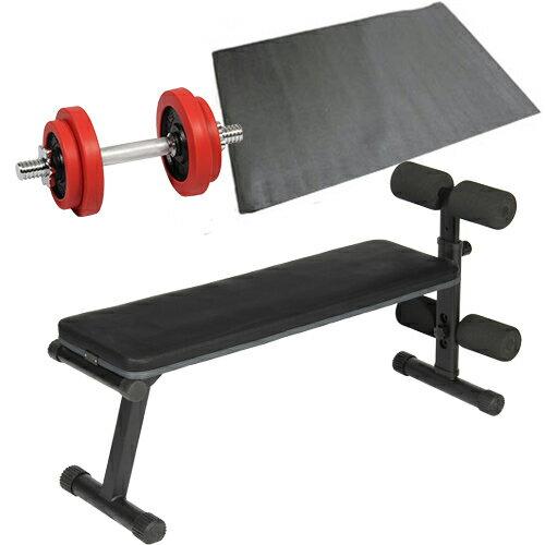 ダンベルトレーニング 3点セット レッド 10kg フラットベンチ ラバーダンベル 10kg 保護マット