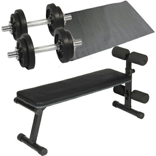 ダンベルトレーニング 4点セット ブラック 10kg フラットベンチ ラバーダンベル 10kg 2個セット 保護マット