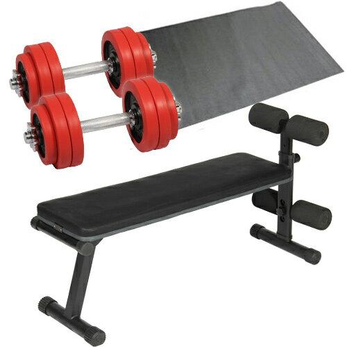 ダンベルトレーニング 4点セット レッド 15kg フラットベンチ ラバーダンベル 15kg 2個セット 保護マット