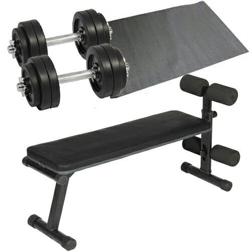 ダンベルトレーニング 4点セット ブラック 15kg フラットベンチ ラバーダンベル 15kg 2個セット 保護マット