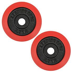 【1/20限定!エントリー&楽天カード決済でP+11倍】リーディングエッジ ラバーダンベル プレート 2.5kg 2枚セット レッド 28mm径 LE-DBP2.5