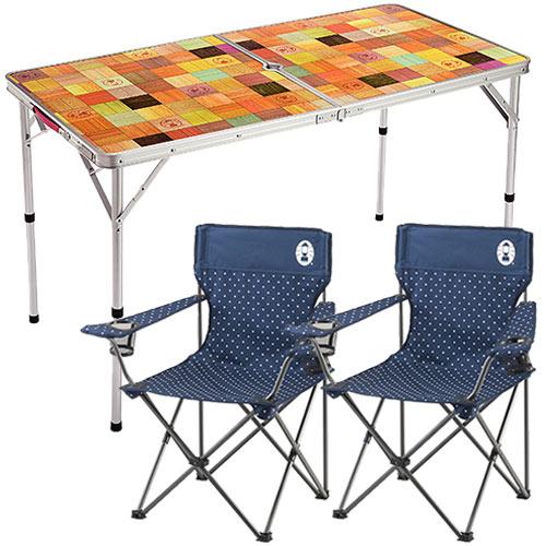 コールマン ナチュラルモザイクリビングテーブル/120プラス 2000026751 + リゾートチェア ネイビードット × 2個 計3点セット