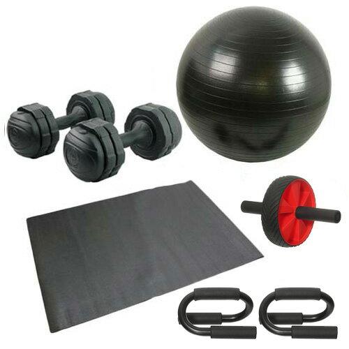 バランスボール 筋トレ 6点セット プッシュアップバー 腹筋ローラー アーミーダンベル7kg2個 ブラック マット付き
