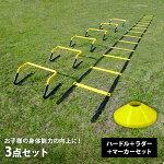 トレーニングミニハードル6個ラダー6mマーカーコーン20枚セットESTH-030Rset